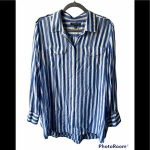 Banana republic blue and white striped button up top size XXL